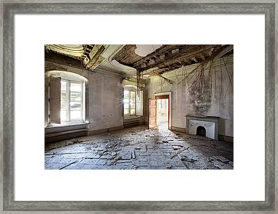 When The Ceiling Comes Down - Urban Exploration Framed Print by Dirk Ercken
