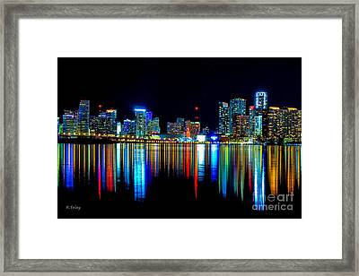 When The Miami City Lights Hit The Bay Waters Framed Print