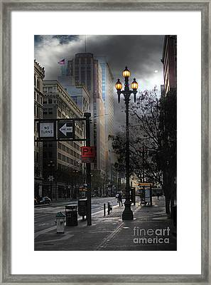 When The Lights Go Down In San Francisco 5d20609 Framed Print by Wingsdomain Art and Photography