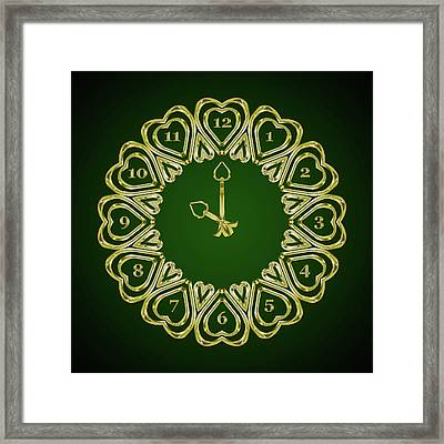 When The Time Stopped - 10 O Clock - Gradient Green Framed Print by Carlos Vieira