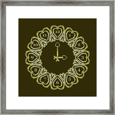 When The Time Stopped - 3 O Clock - Dark Olive Framed Print by Carlos Vieira