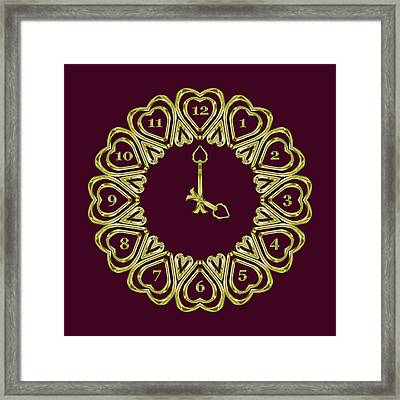 When The Time Stopped - 4 O Clock - Dark Magenta Framed Print by Carlos Vieira