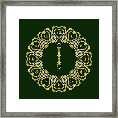 When The Time Stopped - 6 O Clock - Dark Green Framed Print by Carlos Vieira