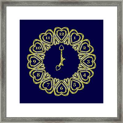 When The Time Stopped - 7 O Clock - Dark Blue Framed Print by Carlos Vieira