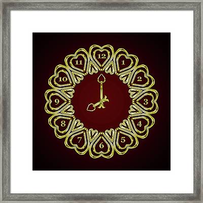 When The Time Stopped - 8 O Clock - Gradient Red Framed Print by Carlos Vieira