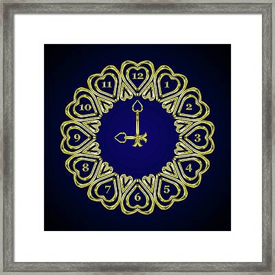 When The Time Stopped - 9 O Clock - Gradient Blue Framed Print by Carlos Vieira