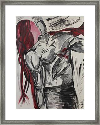 Framed Print featuring the painting When The Women Loves A Man by Sladjana Lazarevic