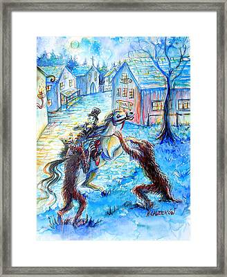 Framed Print featuring the painting When Werewolves Attack by Heather Calderon