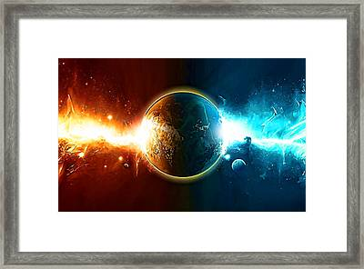 When Worlds Collide In Space Framed Print by Elaine Plesser