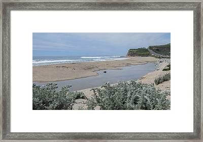 Where Scott Creek Meets The Ocean Framed Print by Mark Barclay