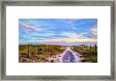 Where The Blacktop Ends - A Digital Rendition Framed Print