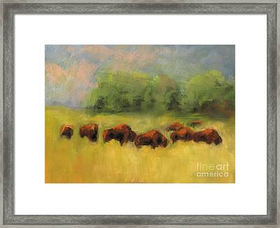 Framed Print featuring the painting Where The Buffalo Roam by Frances Marino