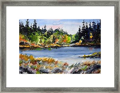 Where The Trout Bite Framed Print by Wilfred McOstrich
