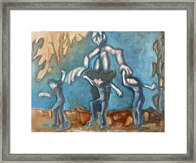 Wherein The Puppetmaster Perches Controlling The Simulacrum Of A Woman Dancing In The Desert Framed Print by Raven Creature