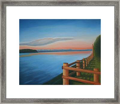 Whidbey Island Sunset Framed Print by Stephen Degan