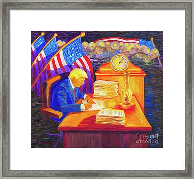 While America Sleeps - President Donald Trump Working At His Desk By Bertram Poole Framed Print by Thomas Bertram POOLE