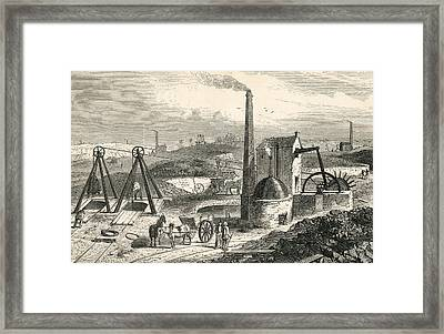 Whimsey Or Engine Drawing Coal In The Framed Print