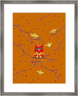 Whimsical Autumn Colors - Birds Owls Framed Print
