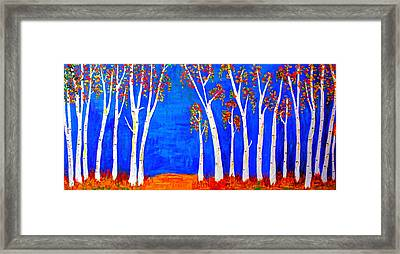 Whimsical Birch Trees Framed Print