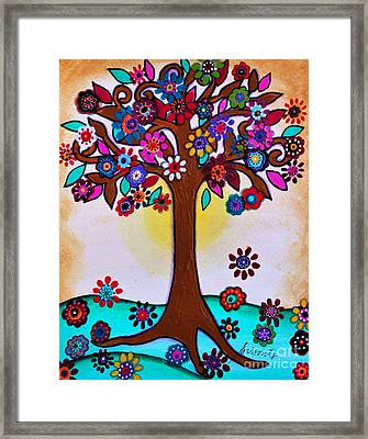 Whimsical Blooming Tree Framed Print