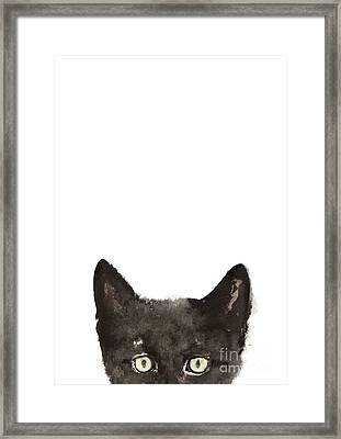 Whimsical Cat Poster, Funny Animal Black Cat Drawing, Peeking Cat Art Print, Animals Painting Framed Print