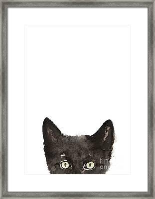 Whimsical Cat Poster, Funny Animal Black Cat Drawing, Peeking Cat Art Print, Animals Painting Framed Print by Joanna Szmerdt
