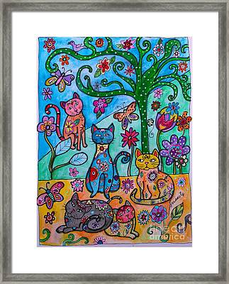 Whimsical Cats Framed Print by Pristine Cartera Turkus