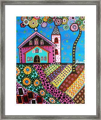 Whimsical Church Framed Print by Pristine Cartera Turkus