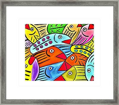 Whimsical Colorful Fish - White Border Framed Print