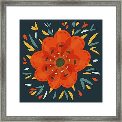 Whimsical Decorative Orange Flower Framed Print by Boriana Giormova
