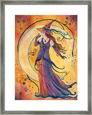 Whimsical Evening Witch Framed Print by Renee Lavoie