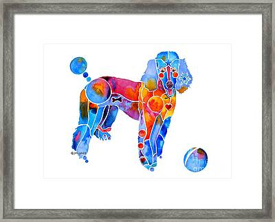 Whimsical French Poodle Framed Print by Jo Lynch
