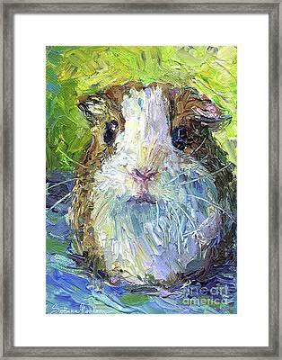 Whimsical Guinea Pig Painting Print Framed Print by Svetlana Novikova