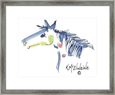 Whimsical Horse Head Watercolor Painting By Kmcelwaine Framed Print by Kathleen McElwaine