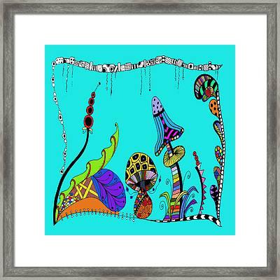 Whimsical Mushrooms Framed Print by Susan Leggett