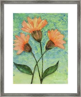 Whimsical Orange Flowers - Framed Print by Helen Campbell
