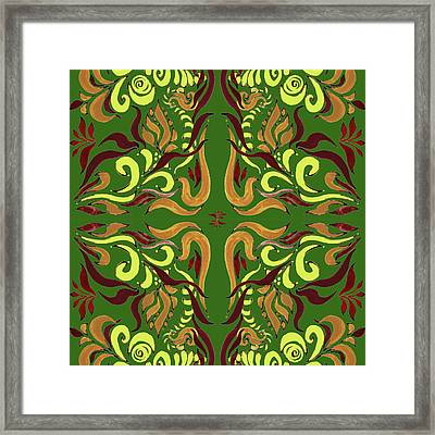 Whimsical Organic Pattern In Yellow And Green I Framed Print