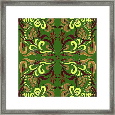 Whimsical Organic Pattern In Yellow And Green II Framed Print