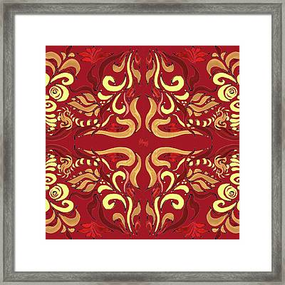 Whimsical Organic Pattern In Yellow And Red I Framed Print