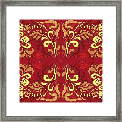 Whimsical Organic Pattern In Yellow And Red II Framed Print