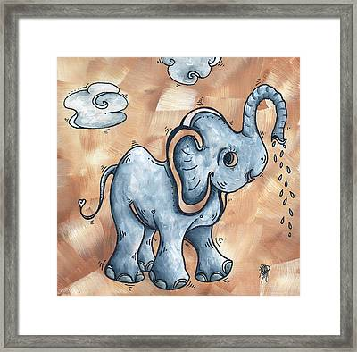 Whimsical Pop Art Childrens Nursery Original Elephant Painting Adorable By Madart Framed Print by Megan Duncanson