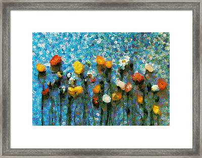 Whimsical Poppies On The Blue Wall Framed Print