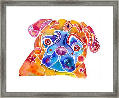 Whimsical Pug Dog Framed Print by Jo Lynch