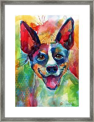 Whimsical Rat Terrier Dog Painting Framed Print by Svetlana Novikova