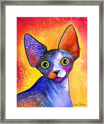 Whimsical Sphynx Cat Painting Framed Print by Svetlana Novikova
