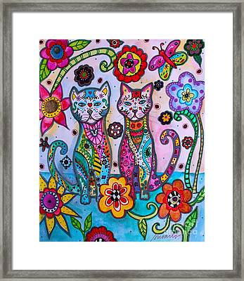 Whimsical Talavera Cats Framed Print by Pristine Cartera Turkus