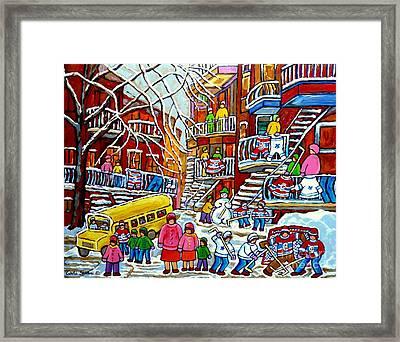 Whimsical Winter Wonderland Snowy School Bus Montreal Story Book Scene Hockey Art Carole Spandau     Framed Print by Carole Spandau