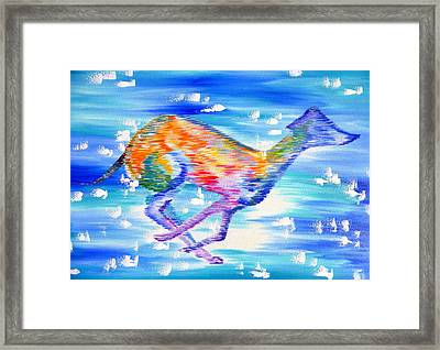 Whippet Framed Print by Cathy Jacobs