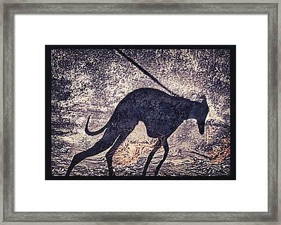 Whippet Silhouette Framed Print by John Clum