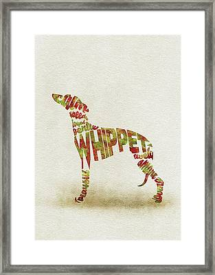 Framed Print featuring the painting Whippet Watercolor Painting / Typographic Art by Inspirowl Design